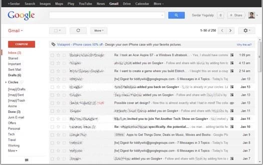 """""""Gmail"""" gautų žinučių (angl. inbox) langas"""