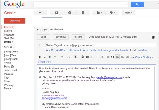"""Gmail"" atsakymo (angl. reply to) langas"