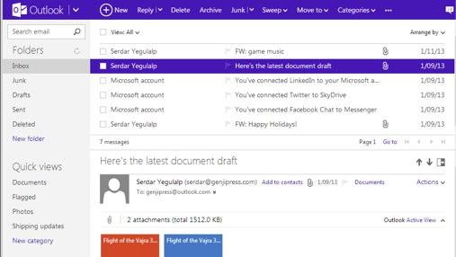 """Outlook.com"" gautų žinučių (angl. inbox) langas"