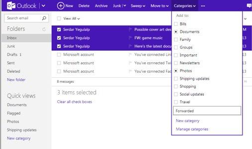 """Outlook.com"" kategorijų sąrašas (angl. categories)"