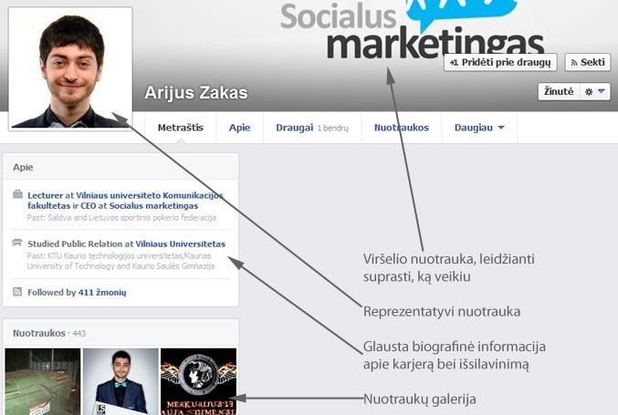 """Tvarkingos """"Facebook"""" paskyros pavyzdys"""