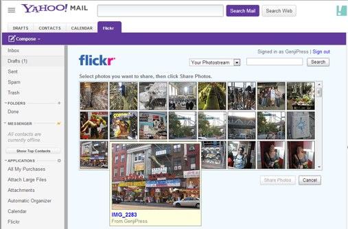 """""""Yahoo Mail"""" įskiepis """"Flickr"""""""