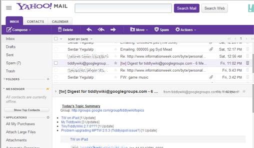 """""""Yahoo Mail"""" gautų laiškų (angl. inbox) langas"""