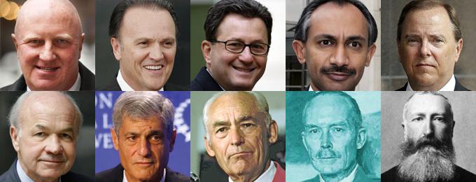 Viršuje nuo kairės: Dennis Kozlowski, Richard Scrushy, Joe Nacchio, Sanjay Kumar, Jeffrey Skilling. Apačioje nuo kairės: Kenneth Lay, Robert Rubin, Sam Walton, Hermann von Siemens, Belgijos karalius Leopoldas II