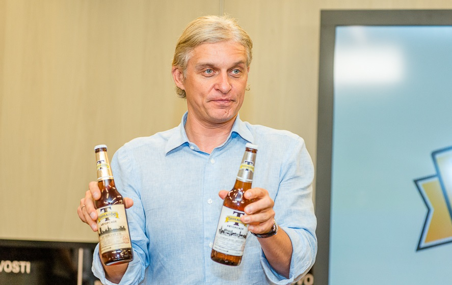 Oleg Tinkov presents his new Tinkoff beer